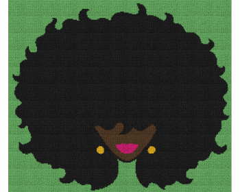 Black Woman With Big Afro - Single Crochet Written Graphghan Pattern - 14 (250 x 215)