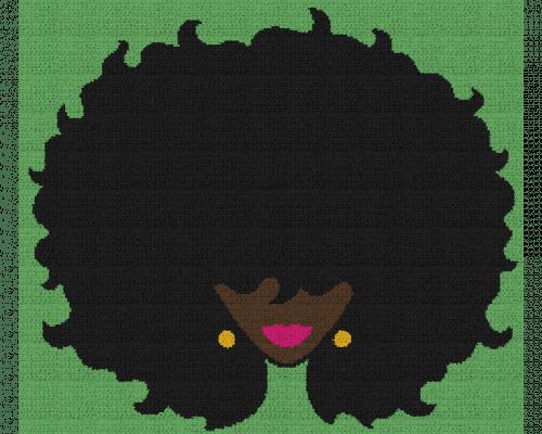 Black Woman With Big Afro - Single Crochet Written Graphghan Pattern - 14 (250 x 215)