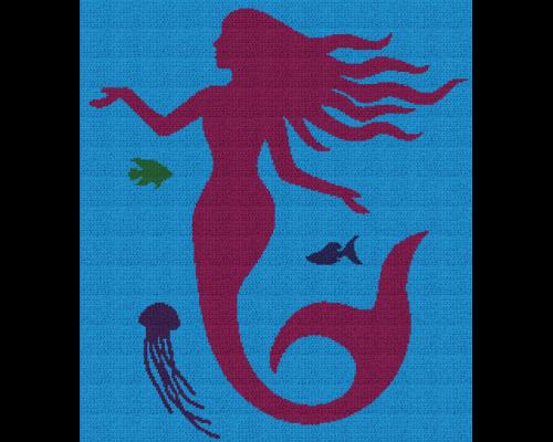 Mermaid Silhouette - Single Crochet Written Graphghan Pattern - 04 (230 x 260)
