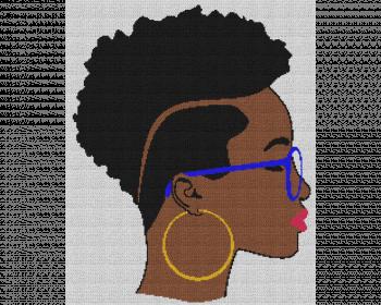 Black Woman With Short Hair - Single Crochet Written Graphghan Pattern - 16 (205 x 250)