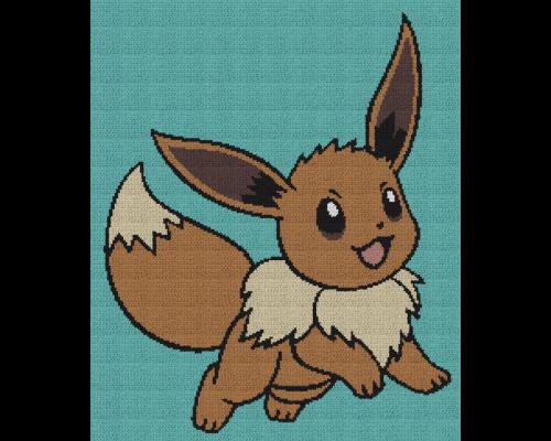 Eevee Pokemon - Single Crochet Written Graphghan Pattern - 01 (205 x 245)