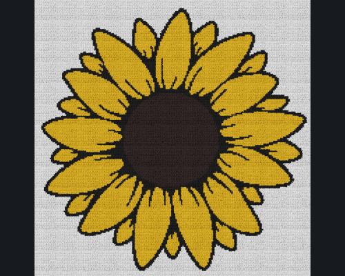 Sunflower - Single Crochet Written Graphghan Pattern - 04 (200 x 200)