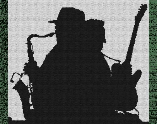 Bruce Springsteen & Clarence Clemons Silhouette - Single Crochet Written Graphghan Pattern - 01 (226 x 200)